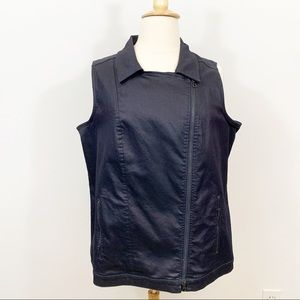 Eileen Fisher Asymmetric Front Zip Black Vest